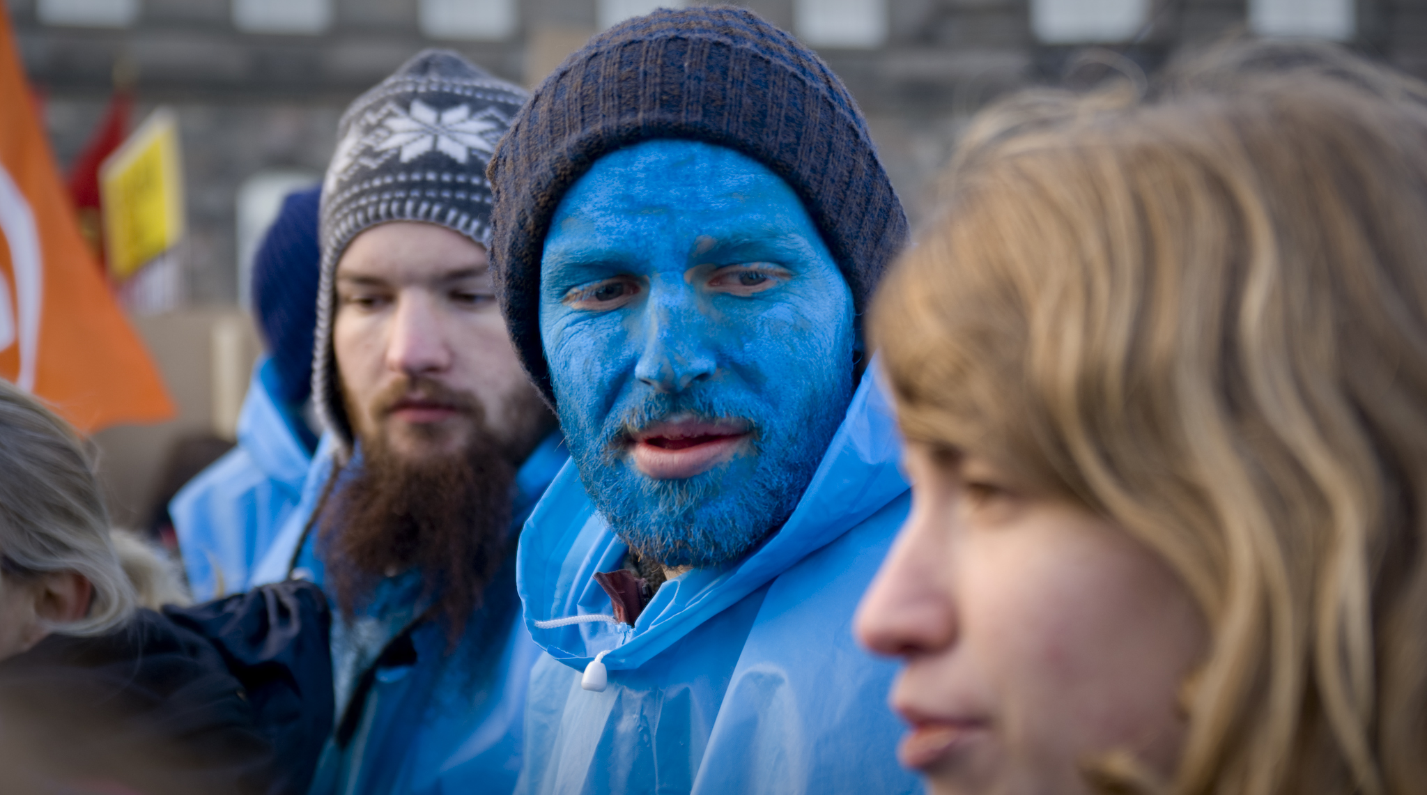 blue man cop15 demonstration