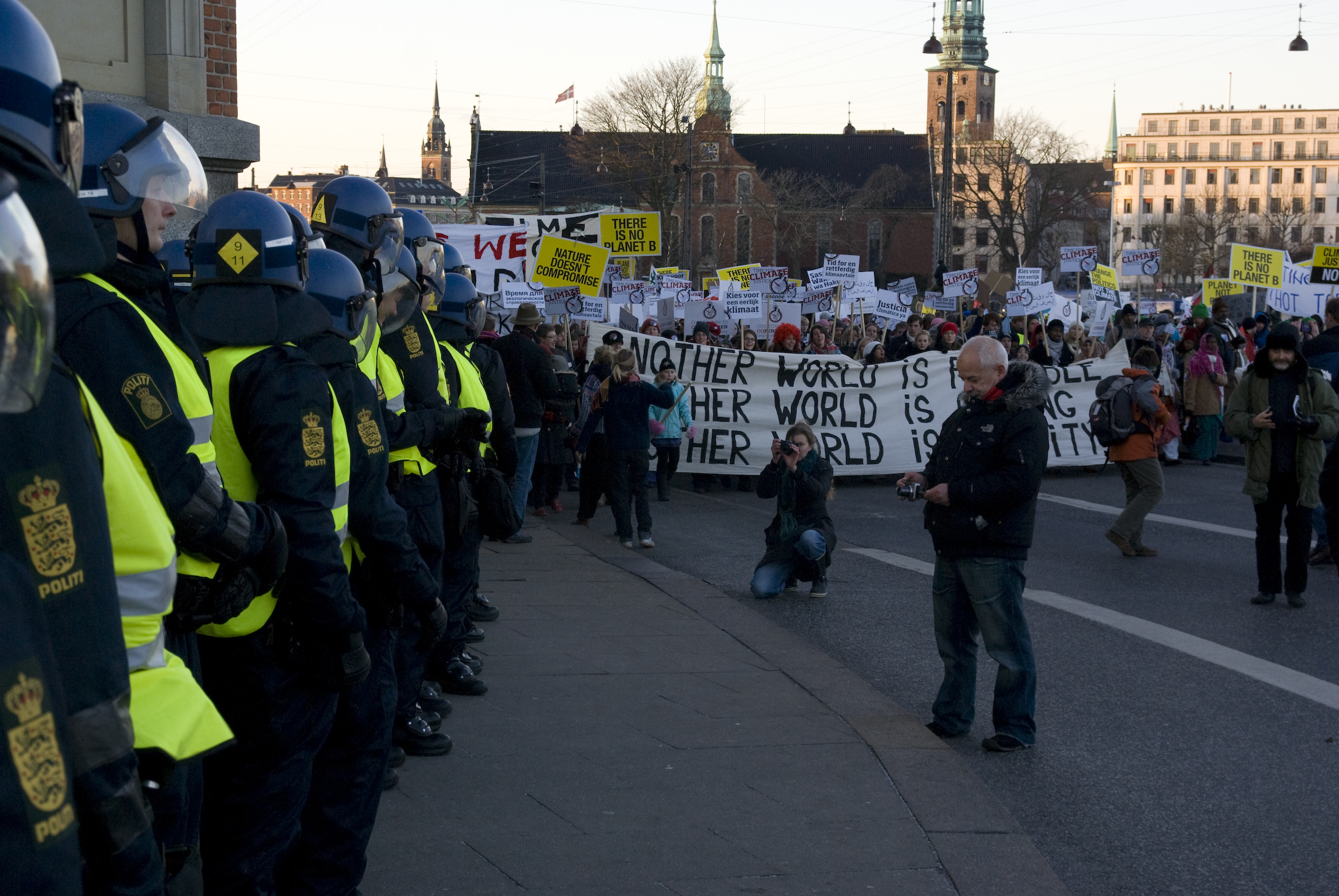 police forces by the side of the cop15 demonstration in Copenhagen