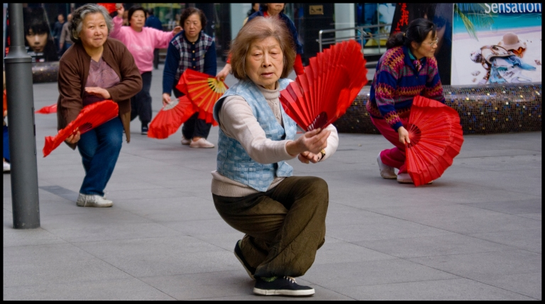 Dancing old ladies in Shanghai streets