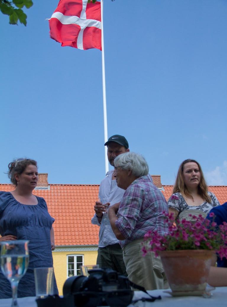 Grundlovsdag Dannebro, blue sky, Danish flag, constitutional day
