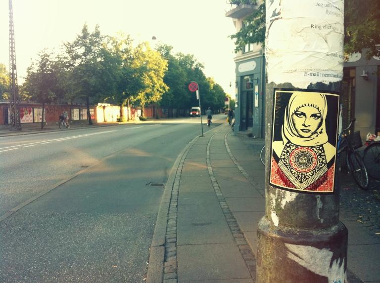 Shepard Fairey sticker in Copenhagen, jagtvej 69